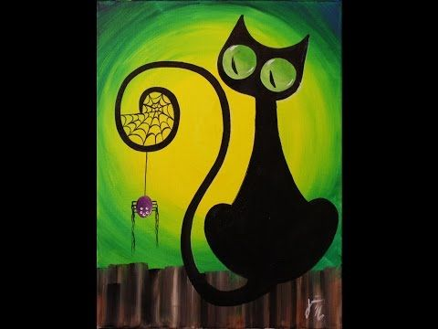 Spooky The Cat Step By Step Acrylic Painting On Canvas For