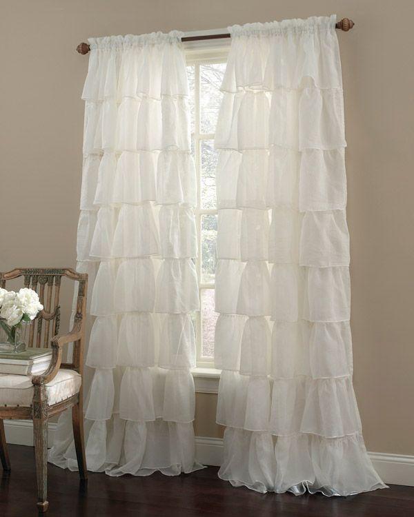 Cream 96 Long Gypsy Shabby Chic Semi Sheer Ruffled Window Curtain Panel