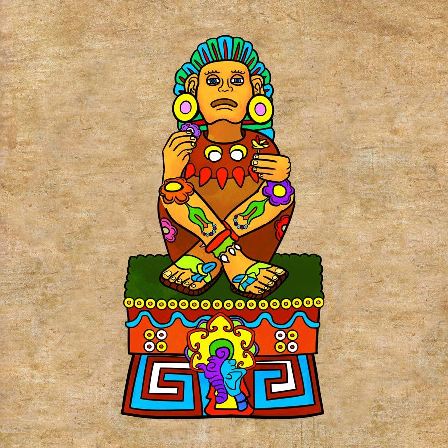 Xochipilli aztec god of art love beauty | Aztec art, Mexican art, Digital  media art