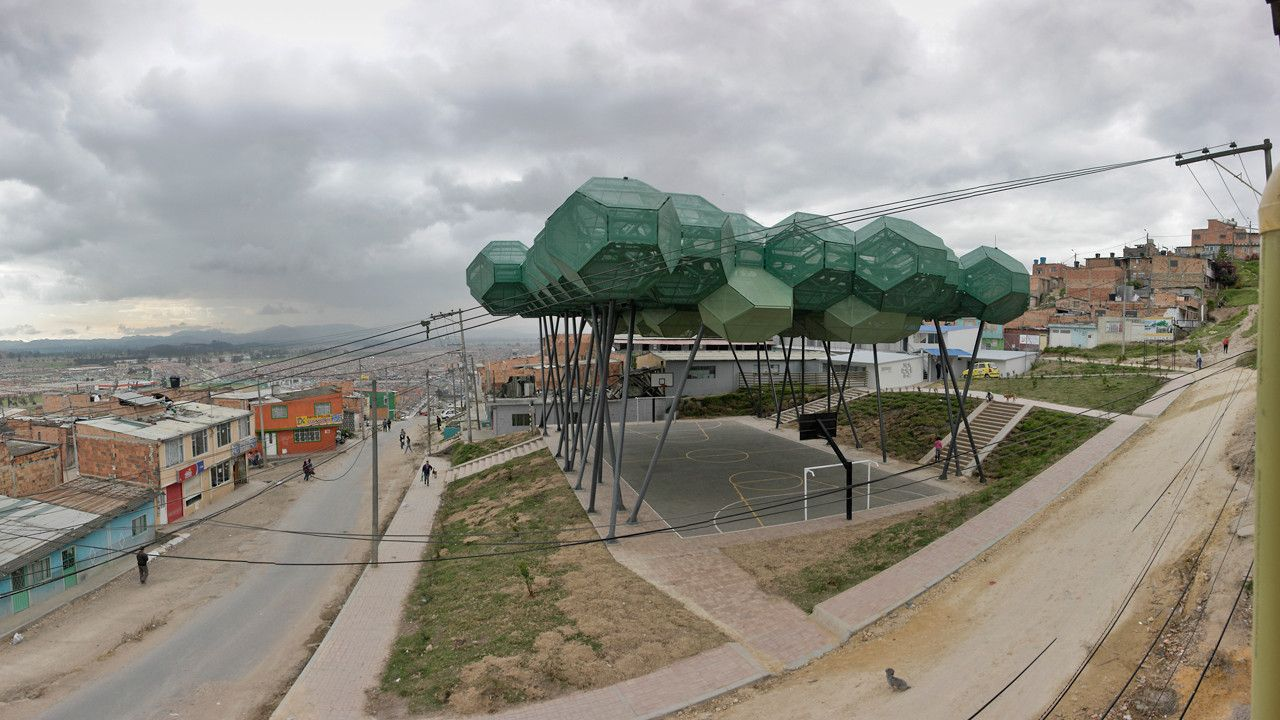 shakira builds a canopy of u201ctrees u201d in a blighted colombian suburb