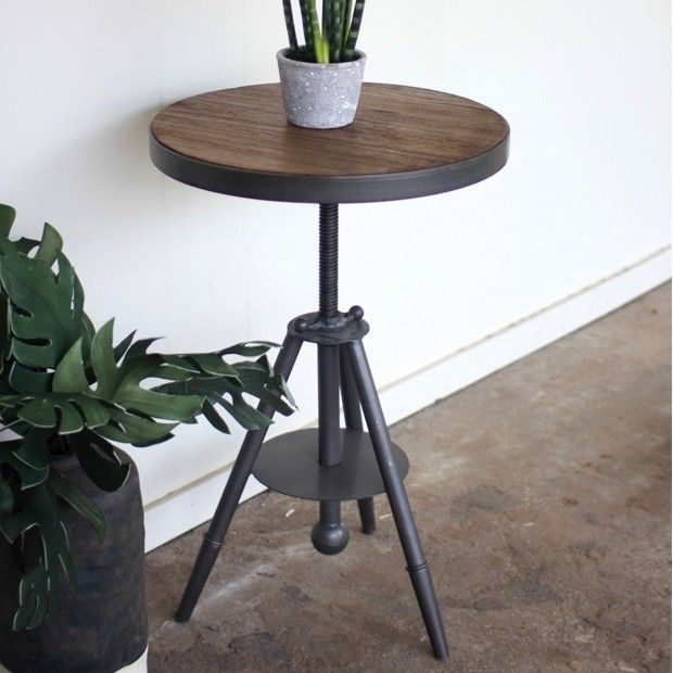 Adjustable Wood And Metal Side Table