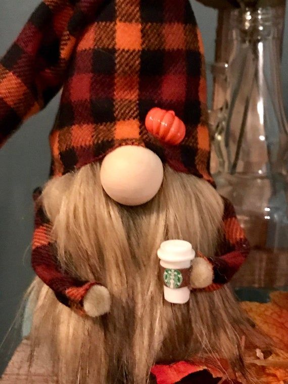 Holiday gnome, Fall gnome, autumn gnome, pumpkin gnome, tomte, nisse, plaid gnome, gnomes, coffee gn #christmasgnomes