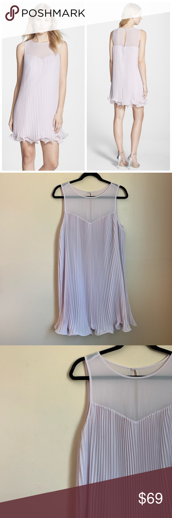8fa8cfd2056 Erin Fetherston pleated Chiffon Shift Dress lilac Good pre owned condition  True to size Light semi