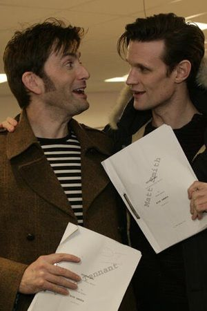 This makes the Geeky Girl in me go SQUEEEE!!!!  Double the Doctor Who fun!==> David Tennant (10) and Matt Smith (11) - Doctor Who 50th