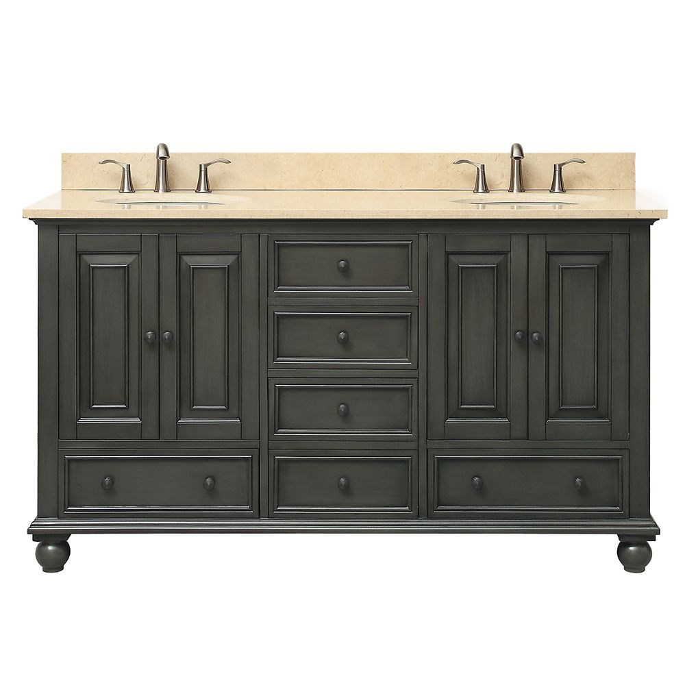 Thompson 61 Inch Double Sink Vanity Combo In Charcoal Glaze Finish