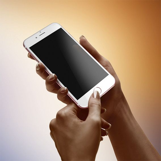 Download Hand With Device Iphone 7 Mockup Iphone Hand Holding Phone Silver Apples