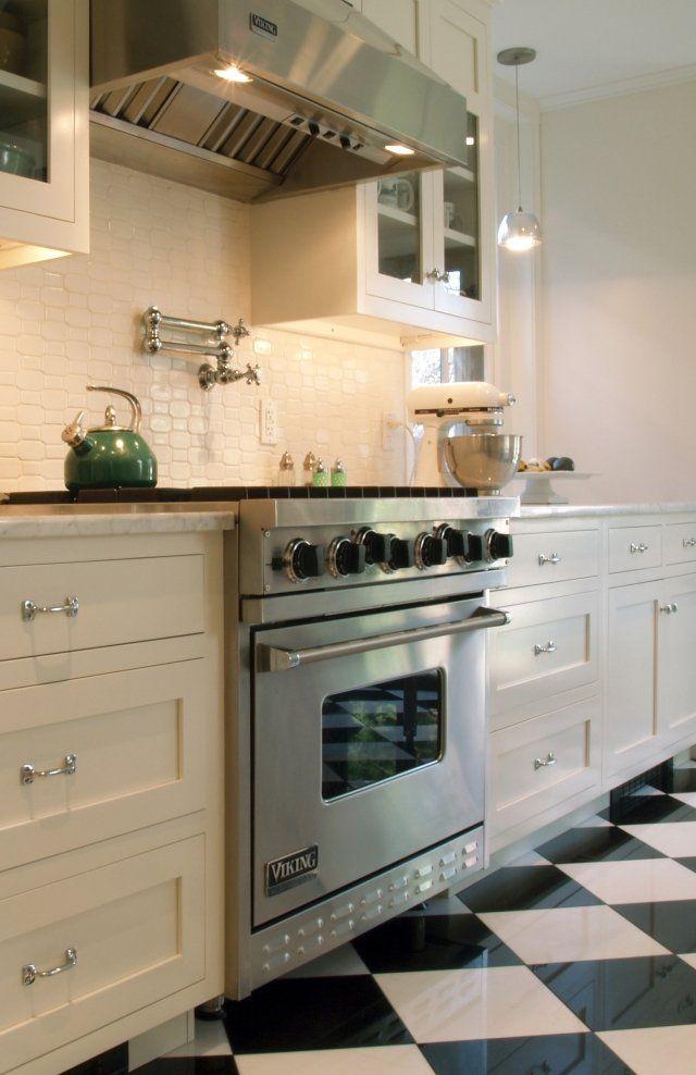 Carrelage Cuisine En Noir Et Blanc   Intrieurs Inspirants