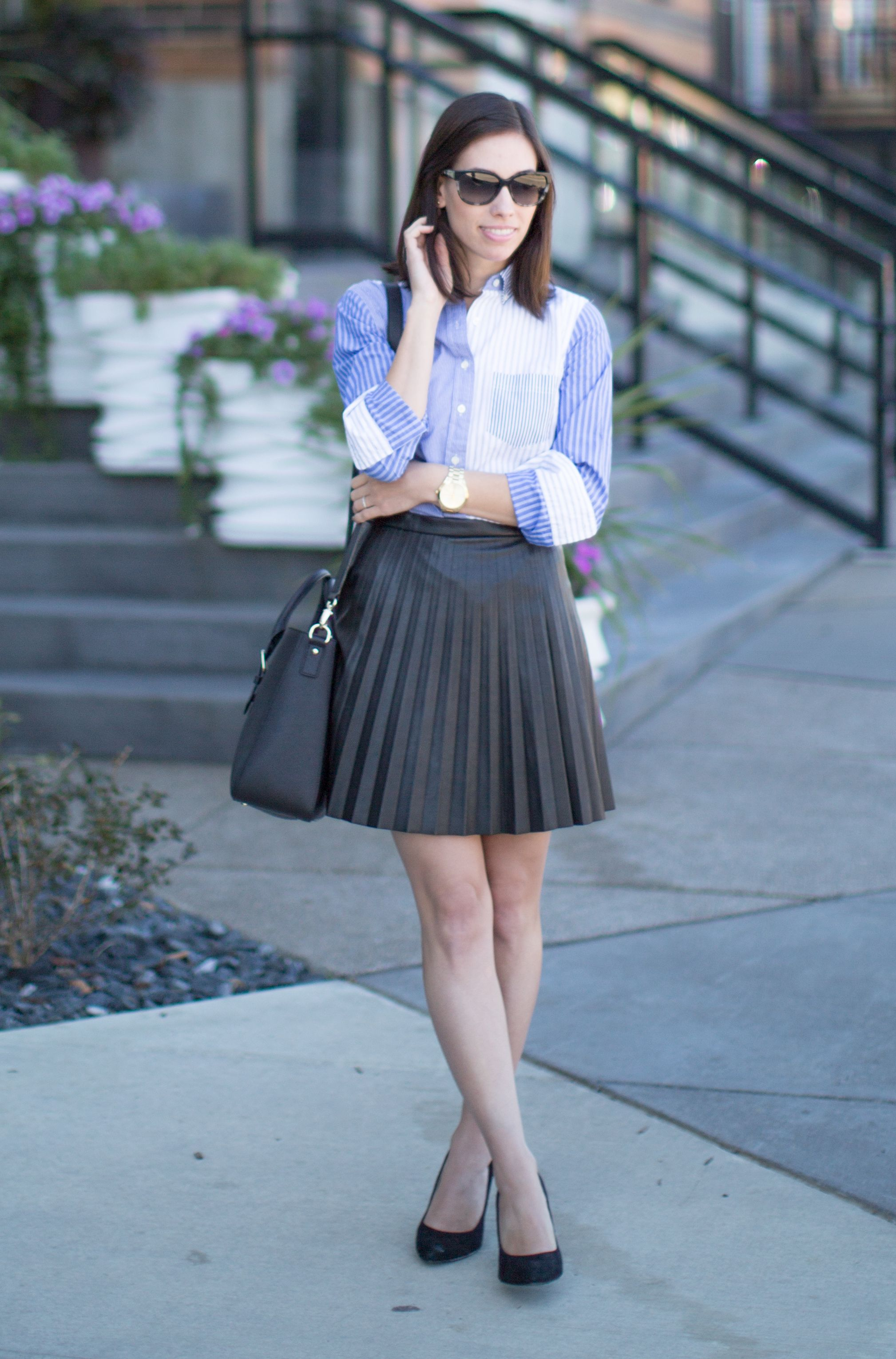 4eb5ff48882 Wellesley   King - J.Crew Tuxedo Shirt and Pleated Faux Leather Skirt -  Wellesley   King
