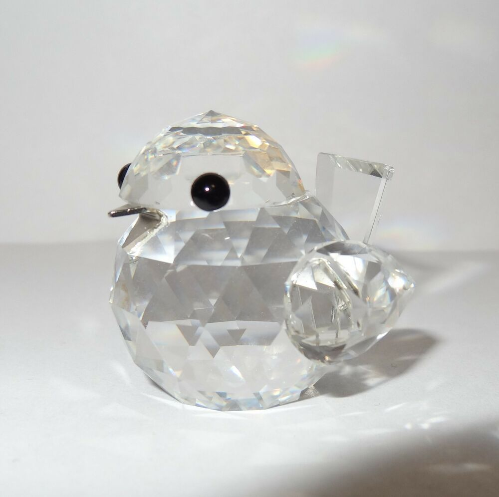 43b61e395 Swarovski #7650 NR020 Sparrow Bird Silver Beak Mini Silver Crystal No Box  Mint