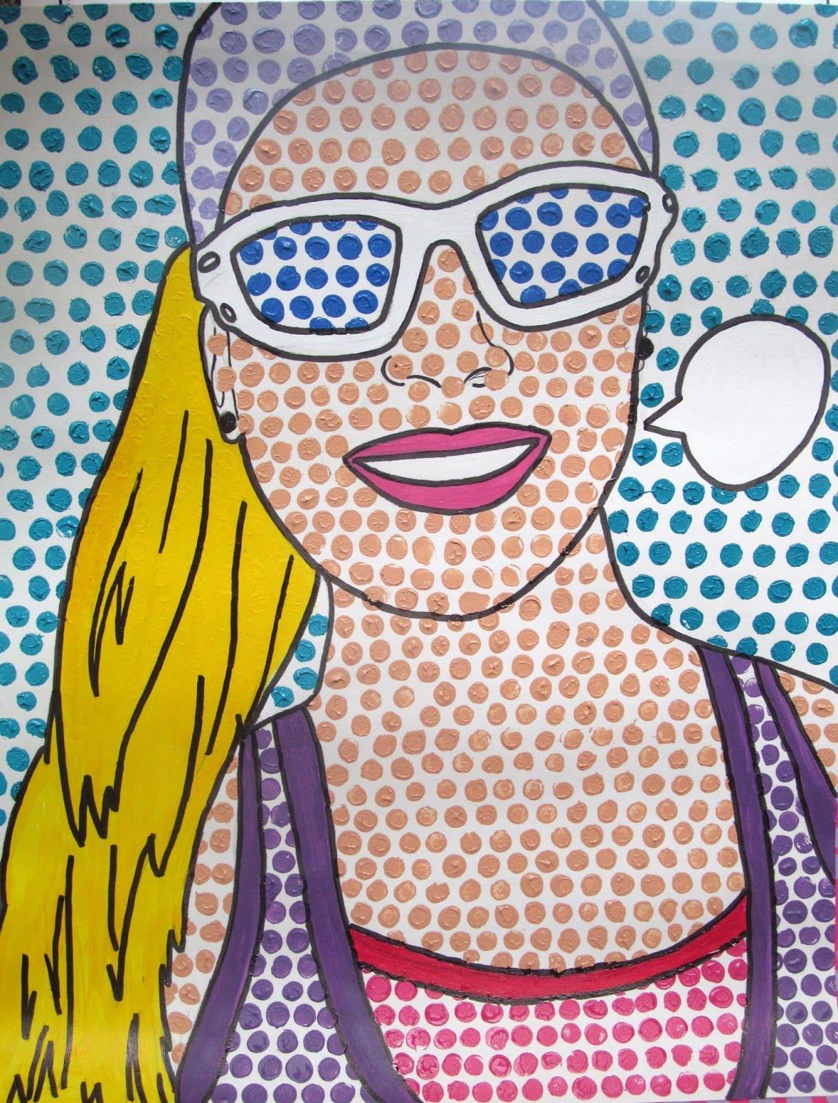 Pop Art Self Portraits Roy Lichtenstein Inspired Olivia I