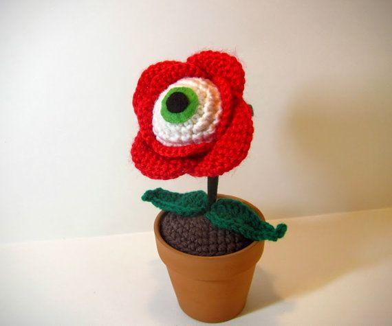 Unique Crochet Rose with Eyeball Center  Creepy by MadebyJody666