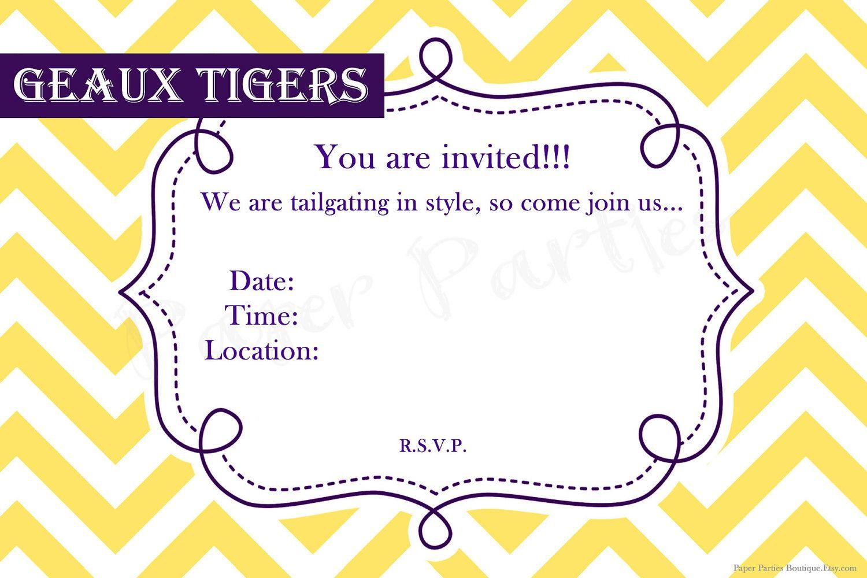 LSU tailgating party invitation. $14.00, via Etsy. | Maybe I DO ...
