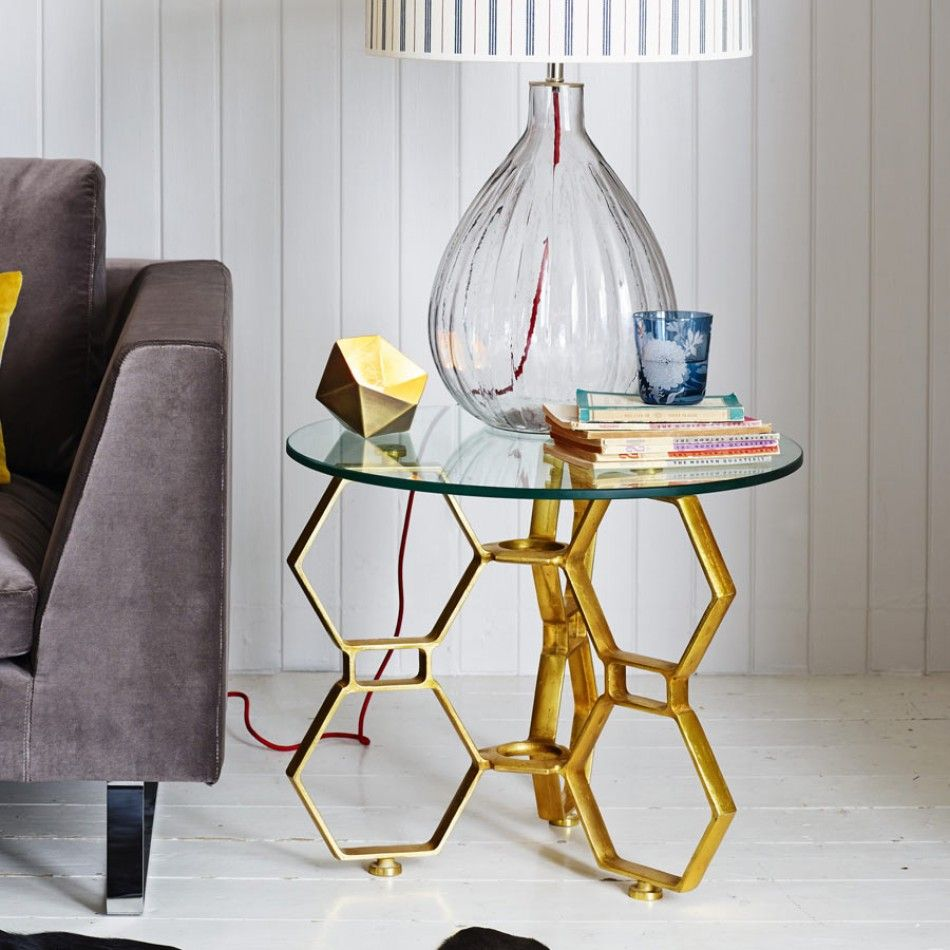 New for Autumn, a gold 3 legged honeycomb inspired side table with a ...