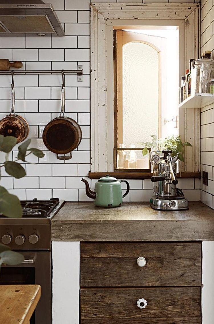 Küchenideen keine hängeschränke vintage cottage in   einrichtung  pinterest  küchen rustikal