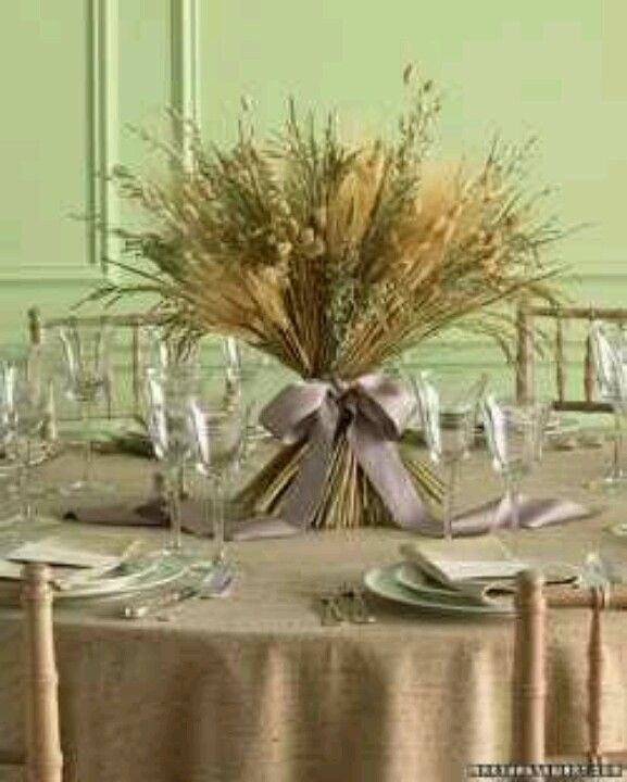 Love the center piece with the burlap