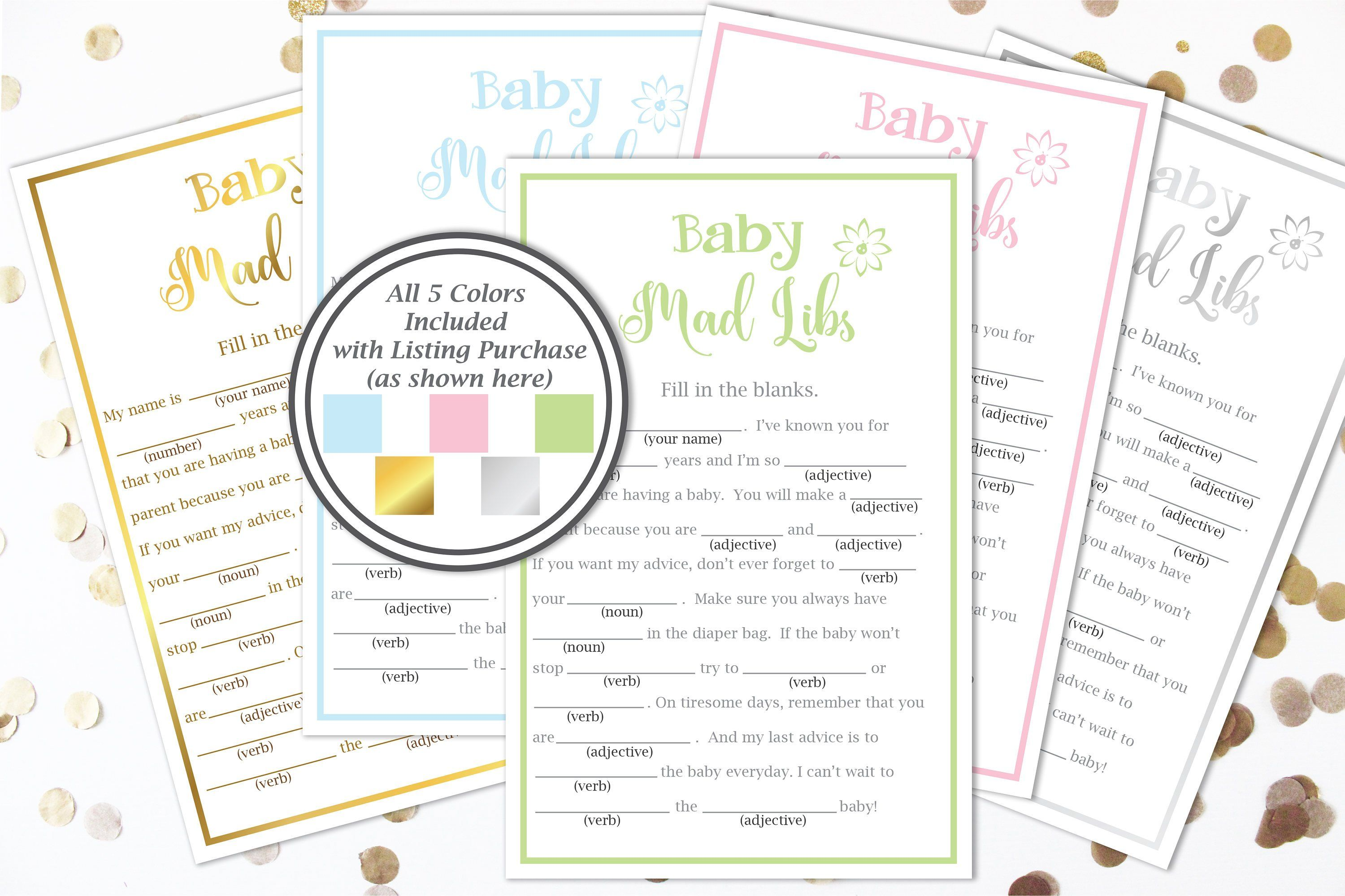 Baby Shower Mad Libs Game Baby Shower Game Template