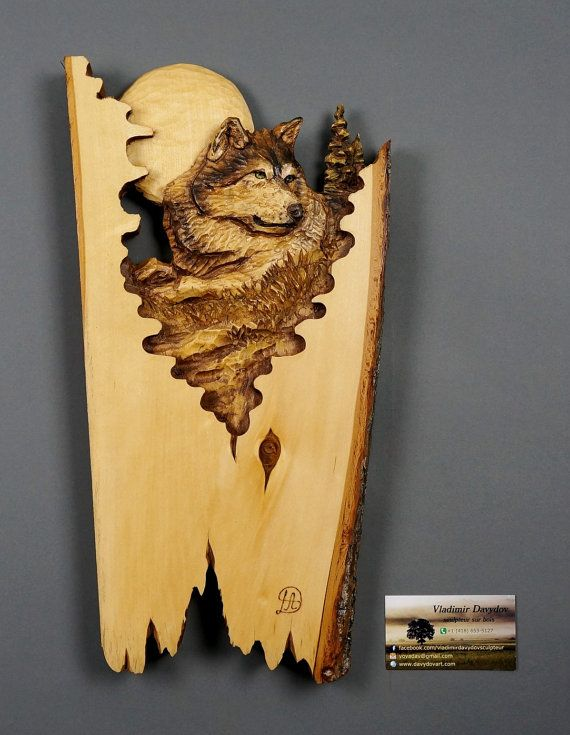 Wolf Carved on Wood Wood Carving Linden Tree with Bark Hand Made ...