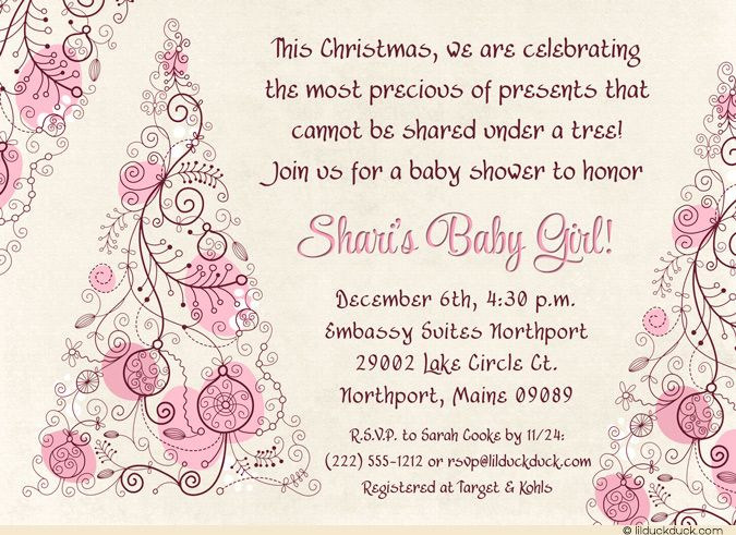 Christmas themed baby shower invitations christmas tree baby christmas themed baby shower invitations christmas tree baby shower invitation precious girl gift purple filmwisefo Image collections