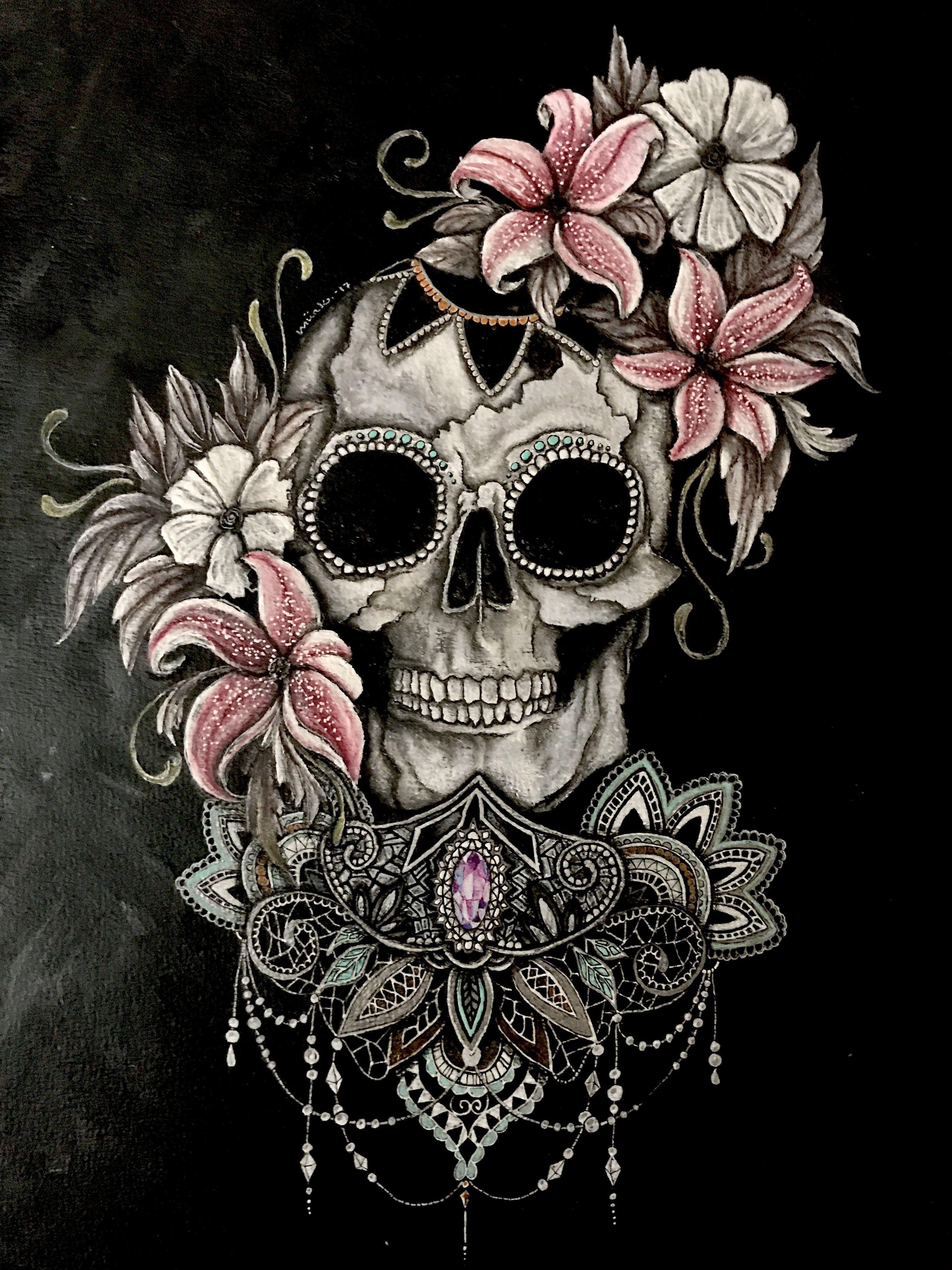Beautiful Cute Skull Wallpaper Skull Rose Tattoos Skull Girl Tattoo Sugar Skull Tattoos