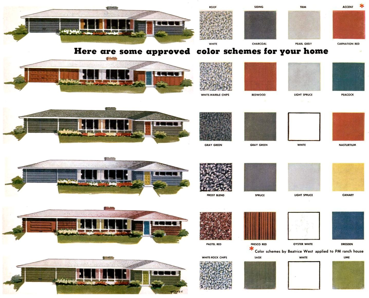 Mid century exterior on pinterest mid century ranch - Roof house color combinations ...