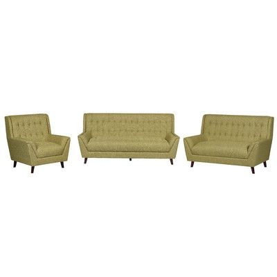 Container 3 Piece Living Room Set Upholstery: Gold Yellow