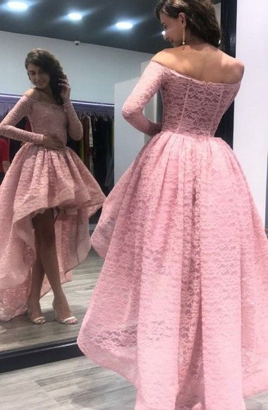 A-Line Off-the-Shoulder High Low Asymmetrical Pink Long Sleeves Lace ...