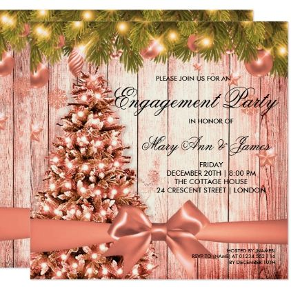 Rose Gold Christmas Engagement Party Tree & Ribbon Invitation | Zazzle.com #engagementparty