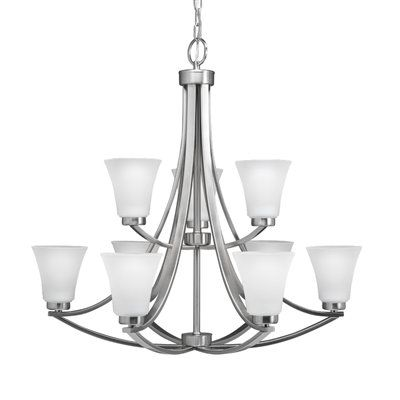 Portfolio Lyndsay 9 Light Chandelier Brushed Nickel Chandelier