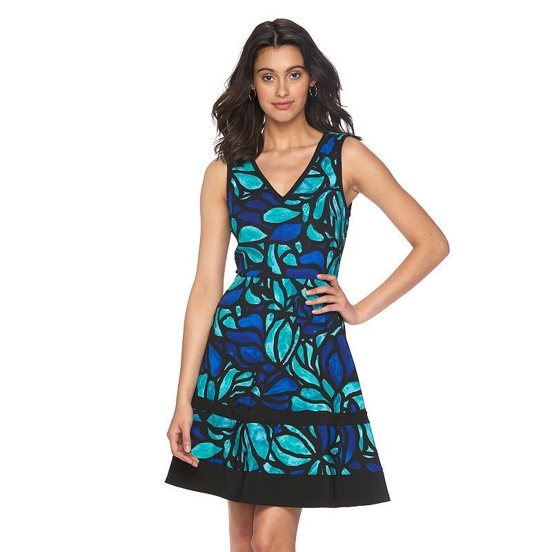 Women's Suite 7 Stained-Glass Fit & Flare Dress, Size: