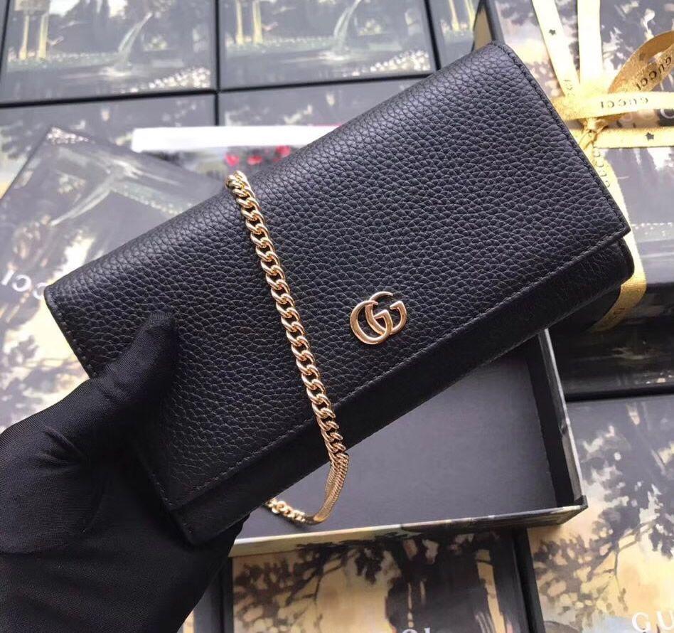 3c644855c6 Gucci GG Marmont Leather Chain Wallet Black | LuxTime DFO Handbags ...