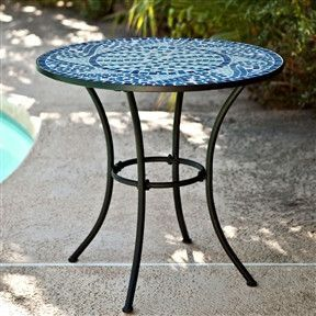 Mosaic Tile Outdoor Patio Table For Two Seats Not Included