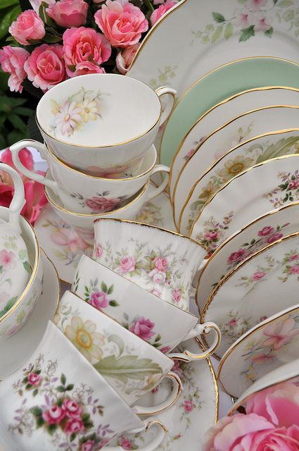 Beautiful Pink and Soft Green Vintage China Tea Set by cake-stand-heaven, via Flickr