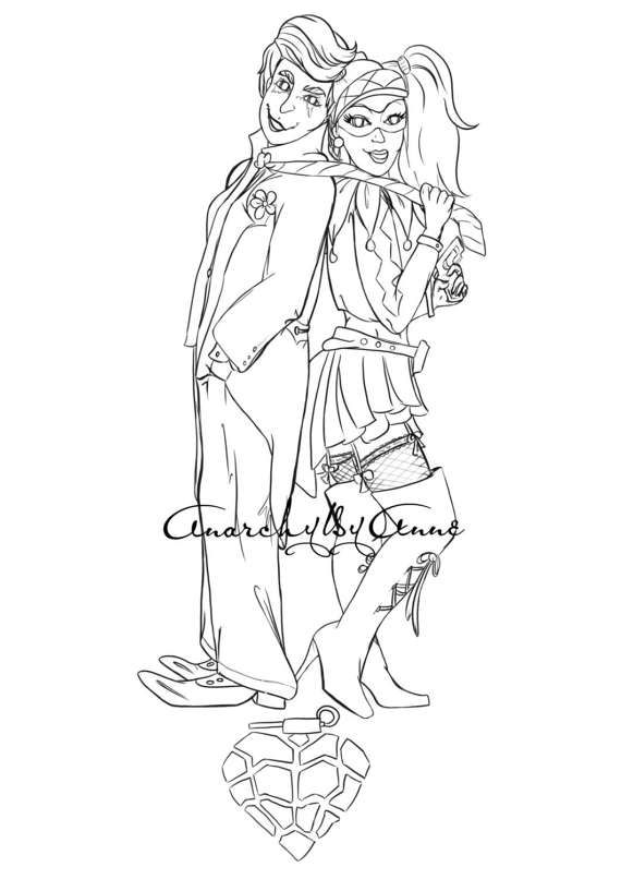 Joker And Harley Quinn Fan Art Villains Digital Download Printable Coloring Page By AnarchyByAnne