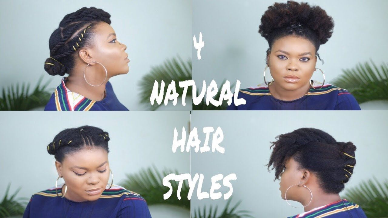 4 Simple Cute Natural Hairstyles For Short To Medium Length Natural Hair Youtube Natural Hair Styles Cute Natural Hairstyles Hair Styles