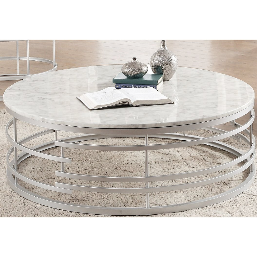 Round Marble And Silver Large Coffee Table Brassica Marble Round Coffee Table Silver Coffee Table Round Coffee Table Modern [ 1000 x 1000 Pixel ]