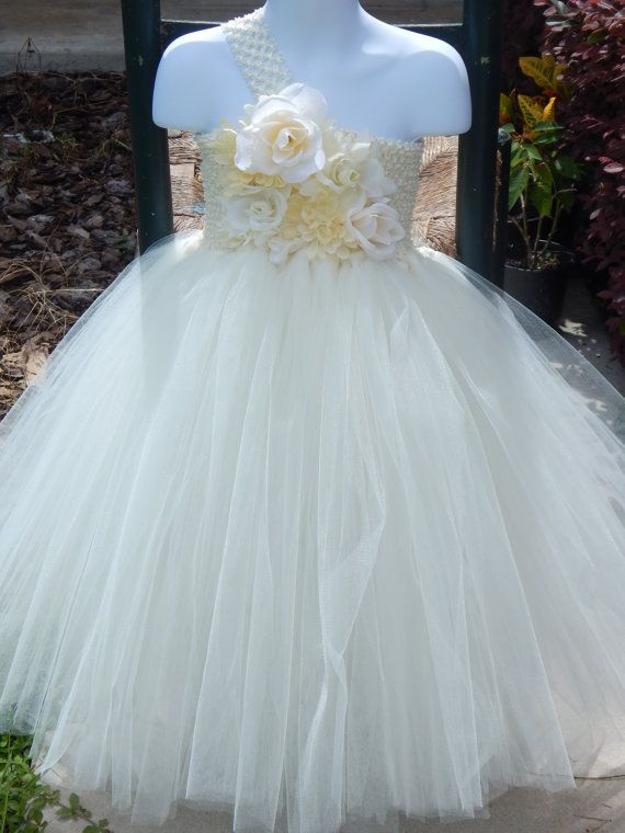 Antique White Ivory Flower Girl Formal Tutu Dress And Matching