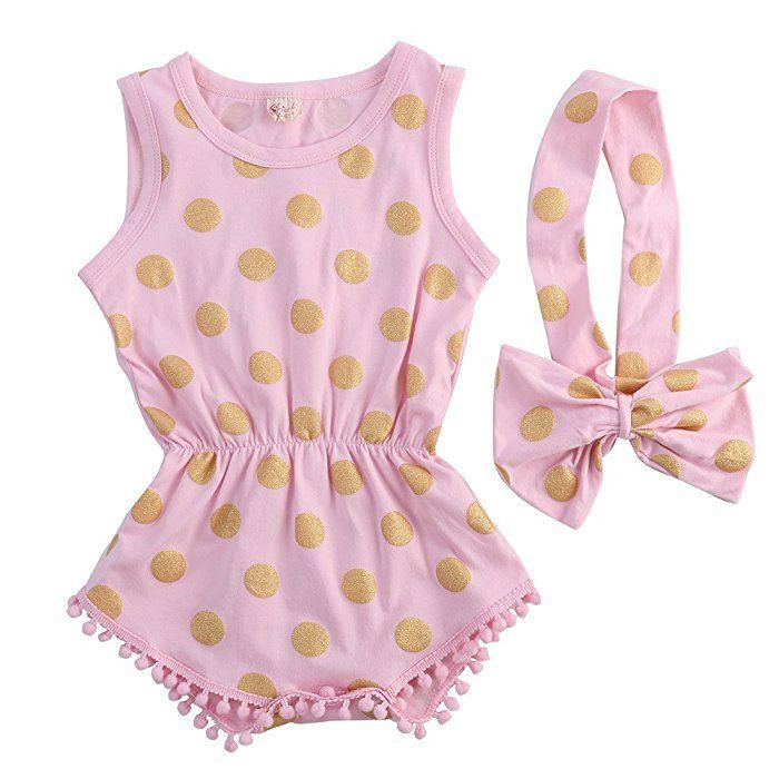 9df05c000c0d Amazon.com  Baby Girl Clothes Gold Dots Bodysuit Romper Jumpsuit One-pieces  Outfits Set (6-12 Months