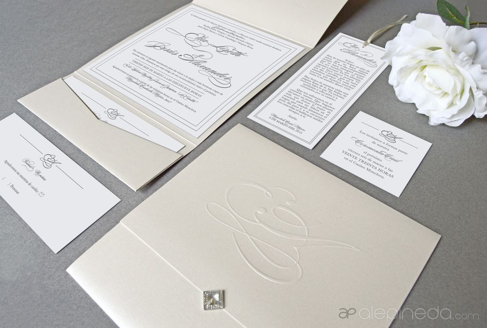 Elegant wedding invitation, prayer, fancy, classy, beige white