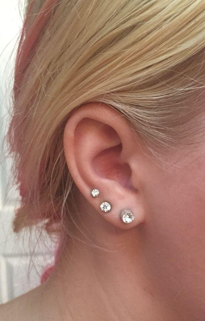 2nd ear piercing ideas  Triple lobe piercing  piercingsutattoos  Pinterest  Ear piercings