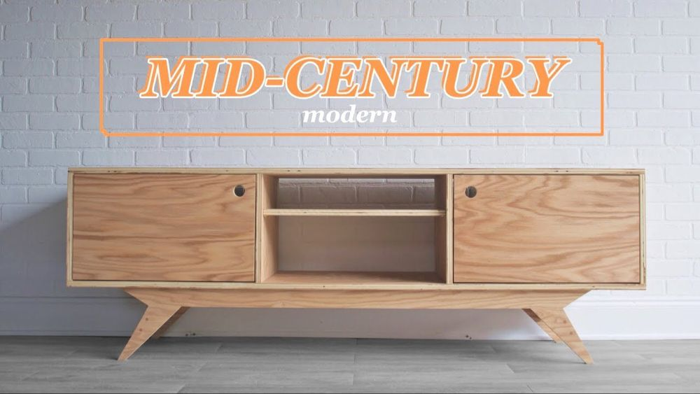 Diy Mid Century Modern Media Console Woodworking Youtube Mid Century Modern Media Console Modern Media Console Media Console Diy