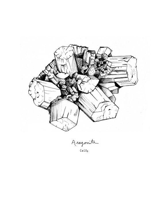 By Emily Parulis Etsy Com Wonderkept Mineral Drawing Print