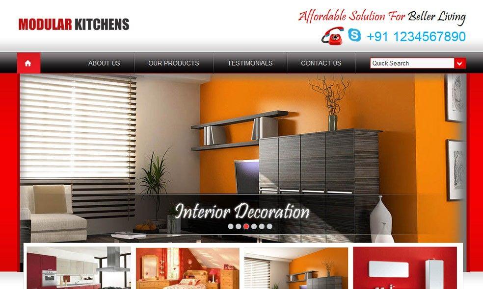 Modular Kitchen Interior Design Website Templates  Modular Unique Kitchen Design Website Inspiration Design