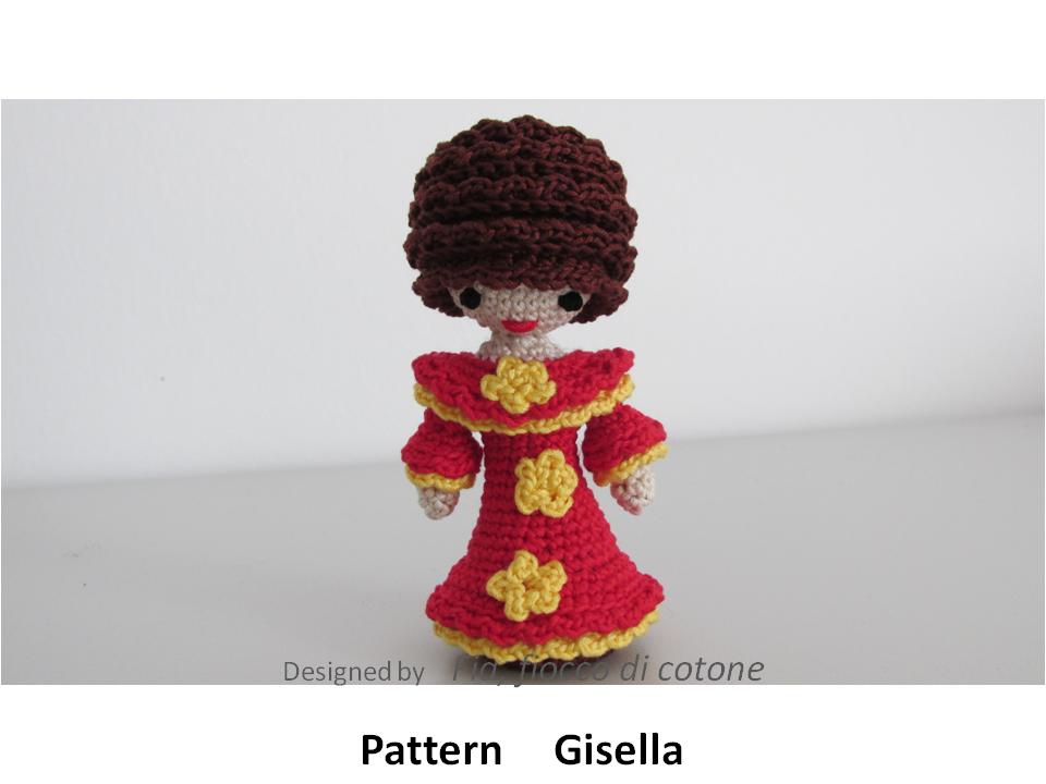Fia, fiocco di cotone: Gisella - miniature doll amigurumi
