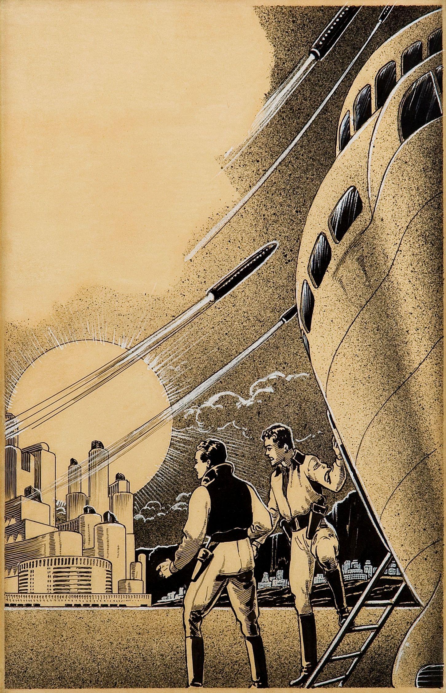 frank r. paul - rockets and men, science fiction pulp interior story illustration