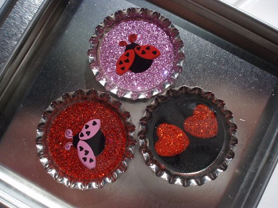 Magnet Set of 3 Valentines Ladybug and Hearts by RaeKaryCaps, $12.00