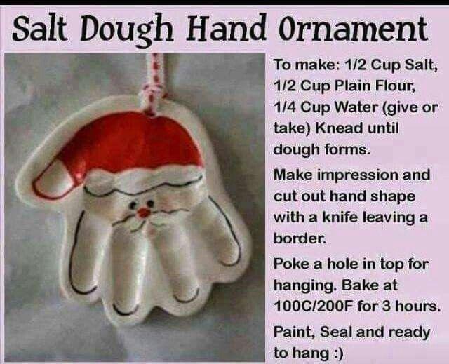 Salt Dough Santa Hand Ornament Xmas Crafts Fun Ideas Pinterest