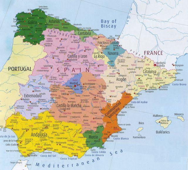 Spanien Geografiske Kort Over Spanien Espanha Mapa Portugal Mapa