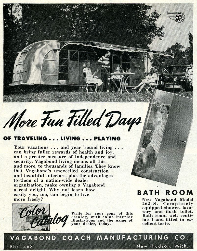 Vagabond Trailer Company, 1949. Now with a bathroom (in Model 262-S)!