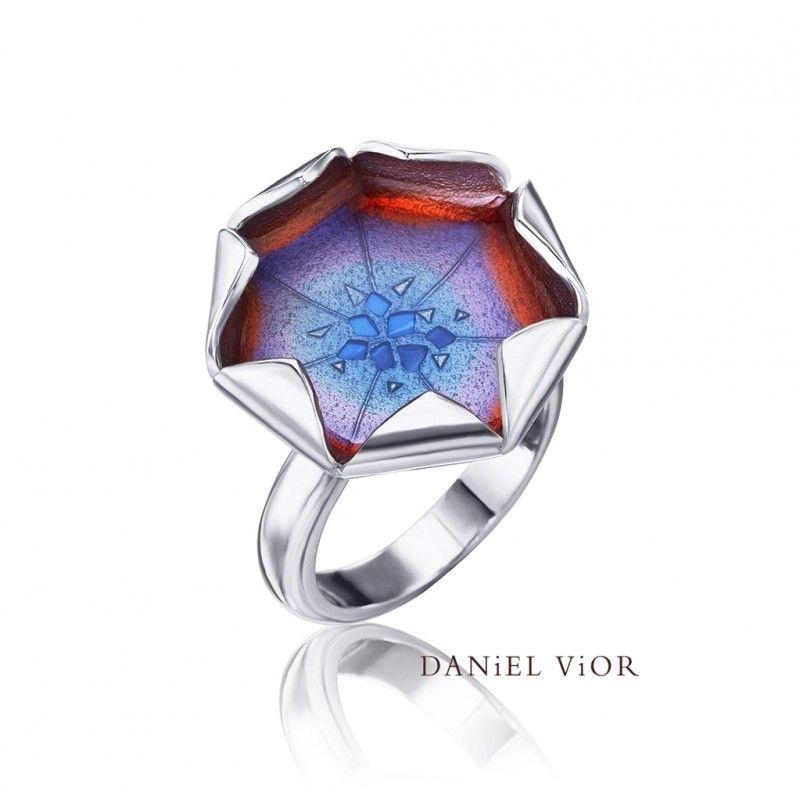 Ring Loto Blue red enamel, Ag.925, Daniel Vior