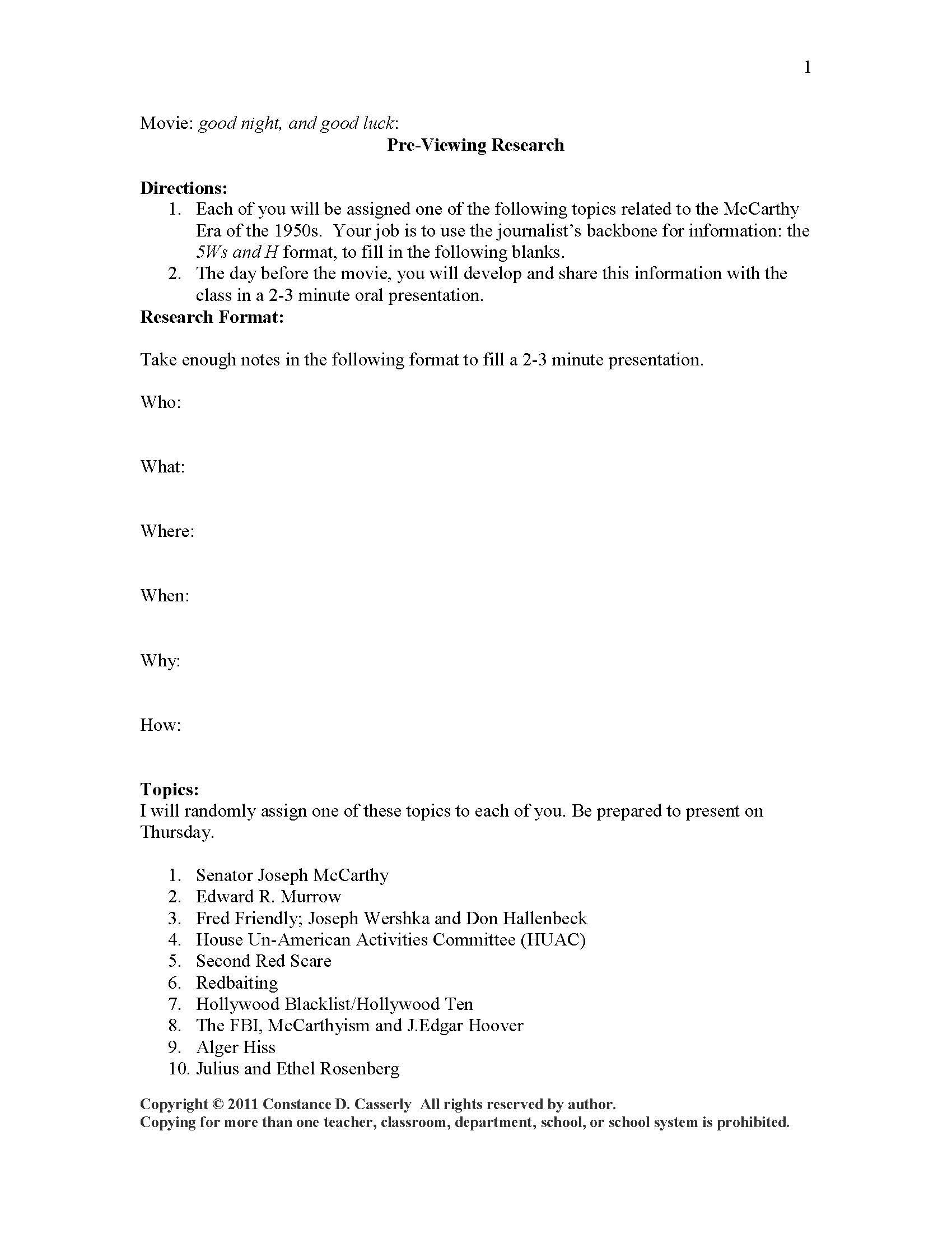 Worksheet For The Movie Good Night And Good Luck Click On The Journalism Tab In My Store